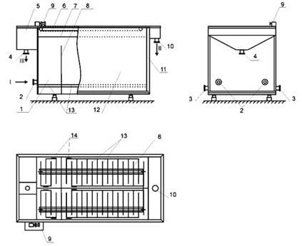 Схема электрофлотатора: 1
